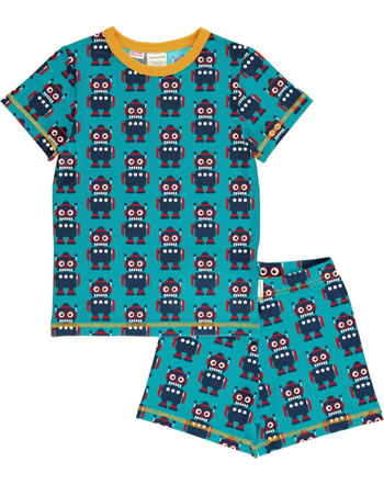 Maxomorra Pyjama Schlafanzug kurz CLASSIC ROBOT petrol/orange C3500-M581