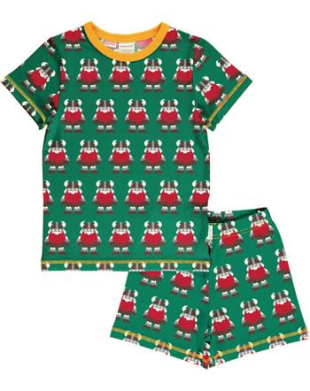 Maxomorra Pyjama Schlafanzug kurz CLASSIC VIKING grün/orange C3502-M581