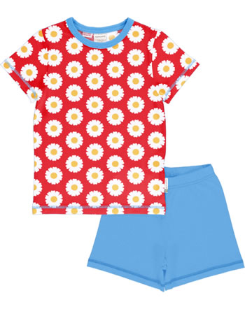 Maxomorra Pyjama Schlafanzug kurz DAISY rot GOTS M439-C3345