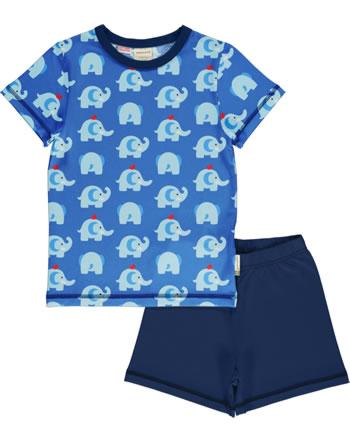 Maxomorra Pyjama Schlafanzug kurz ELEPHANT FRIENDS blau GOTS M439-C3339