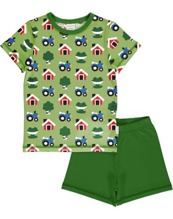 Maxomorra Pyjama short FOREST FARM green GOTS M439-C3342
