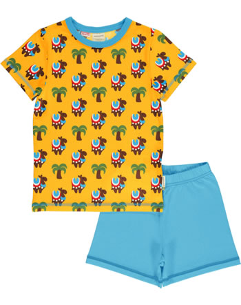 Maxomorra Pyjama Schlafanzug kurz KAMEL KARAWANE gelb/blau GOTS M439-C3336