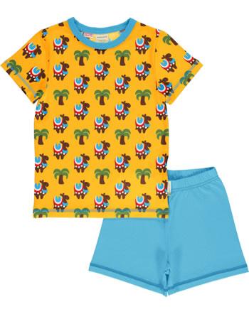 Maxomorra Pyjama short CAMEL CARAVAN yellow/blue GOTS M439-C3336