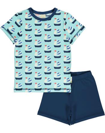 Maxomorra Pyjama Schlafanzug kurz SAILBOAT blau GOTS M439-C3346
