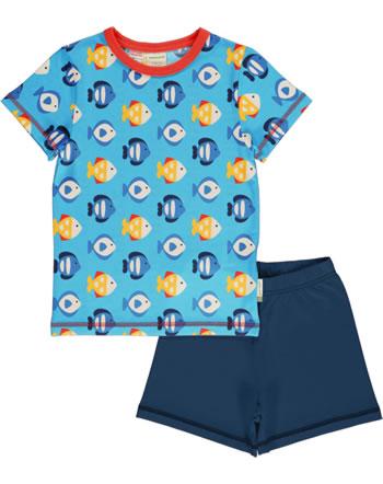 Maxomorra Pyjama Schlafanzug kurz TROPICAL AQUARIUM blau GOTS M439-C3348