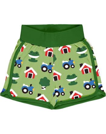 Maxomorra Runner Shorts FOREST FARM grün GOTS M530-C3342