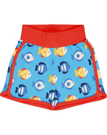 Maxomorra Runner Shorts TROPICAL AQUARIUM blau GOTS M530-C3348