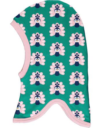 Maxomorra Balaclava hat Velour PEACOCK green/pink C3446-M555 GOTS