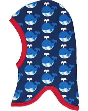 Maxomorra Balaclava hat Velour WHALE blue C3413-M555 GOTS