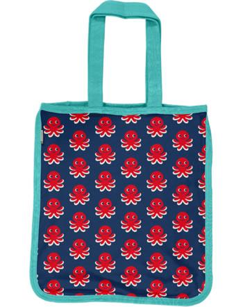 Maxomorra Shopping Bag Sweat Tragetasche OCTOPUS blau/rot C3476-M562 GOTS