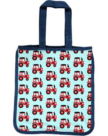 Maxomorra Shopping Bag Sweat Tragetasche TRACTOR türkis C3468-M562 GOTS