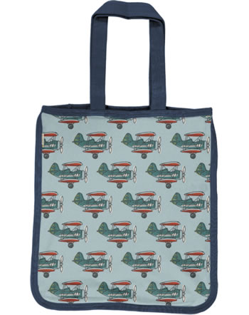 Maxomorra Shopping Bag AIRPLANE blue C3434-M494 GOTS