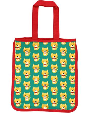 Maxomorra Shopping Bag CAT turquoise/red C3429-M494 GOTS