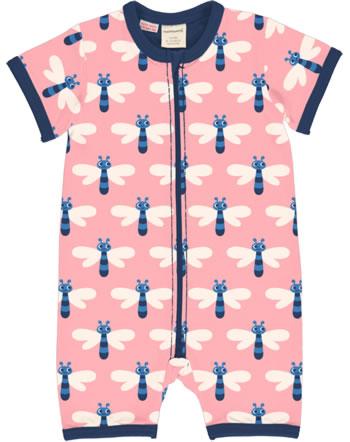 Maxomorra Rompersuit short sleeve DRAGONFLY pink C3472-M444 GOTS