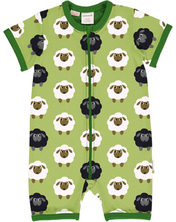 Maxomorra Rompersuit short sleeve SHEEP green C3482-M444 GOTS