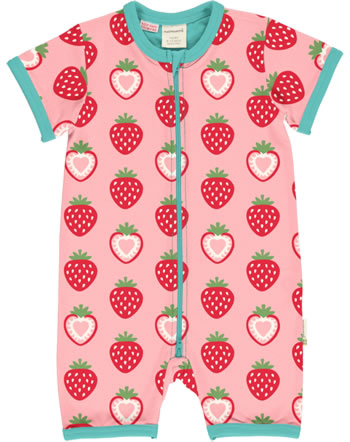 Maxomorra Rompersuit short sleeve STRAWBERRY pink C3484-M444 GOTS