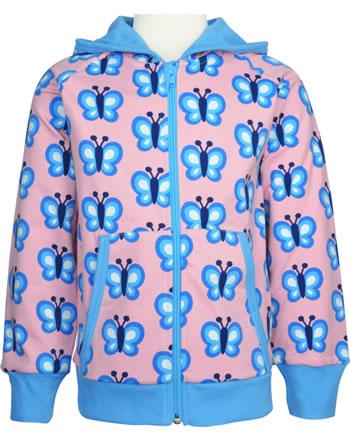Maxomorra Sweat-Jacke Hoodie BLUEWING BUTTERFLY rosa GOTS M472-C3341