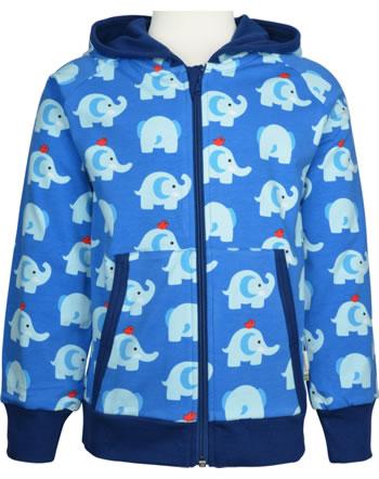Maxomorra Sweat-Jacke Hoodie ELEPHANT FRIENDS blau GOTS M472-C3339