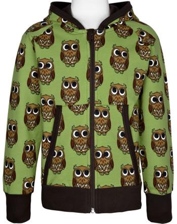 Maxomorra Sweat-Jacke Hoodie OWL grün C3416-M548 GOTS