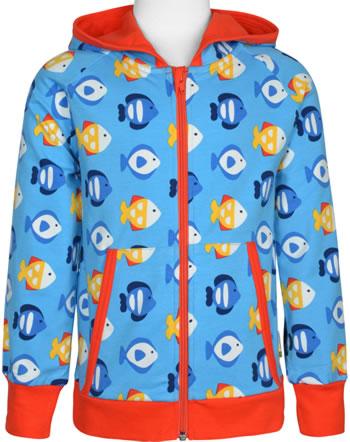 Maxomorra Sweat-Jacke Hoodie TROPICAL AQUARIUM blau GOTS M472-C3348