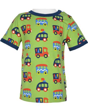 Maxomorra T-Shirt Kurzarm BUNTE AUTOS grün/blau GOTS M179-C3334