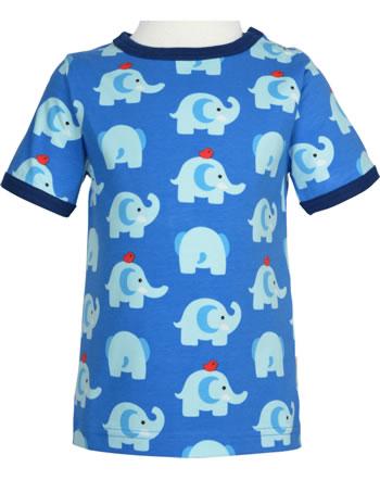 Maxomorra T-Shirt Kurzarm ELEPHANT FRIENDS blau GOTS M468-C3339
