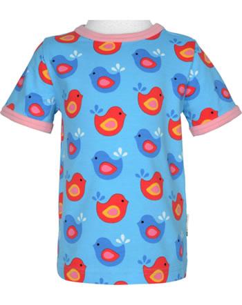 Maxomorra T-Shirt Kurzarm VÖGEL blau/rosa GOTS M179-C3337