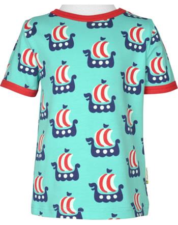 Maxomorra T-Shirt short sleeve VIKING SHIP turquoise C3475-M468 GOTS