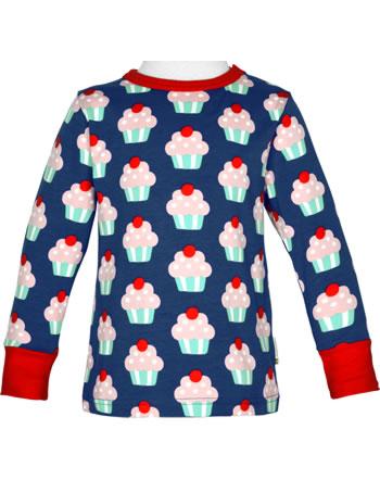 Maxomorra T-Shirt long sleeve CUPCAKE blue C3425-M467 GOTS