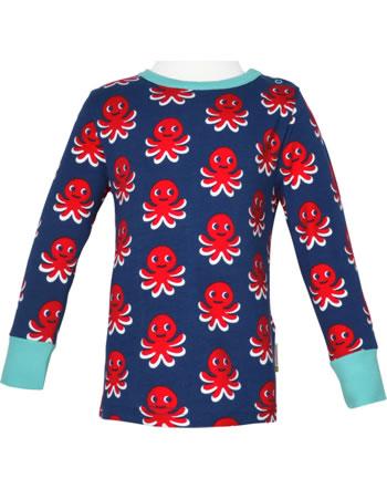 Maxomorra T-Shirt long sleeve OCTOPUS blue / red C3476-M467 GOTS