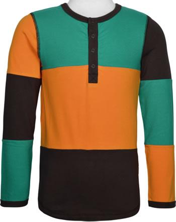 Maxomorra T-Shirt Langarm Slim BLOCK lagoon C3442-M461 GOTS