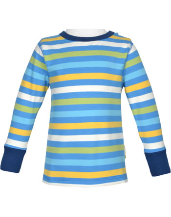 Maxomorra T-Shirt Langarm Streifen Ocean blau/gelb GOTS M520-C3350