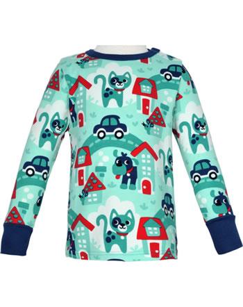 Maxomorra T-Shirt long sleeve TOWN turquoise C3479-M467 GOTS