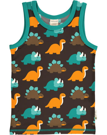 MaxomorraTanktop Undershirt DINOSAURS turquoise/brown C3427-M471 GOTS