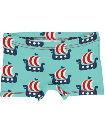 Maxomorra Slips Boxer Panty VIKING SHIP turquoise C3475-M513 GOTS