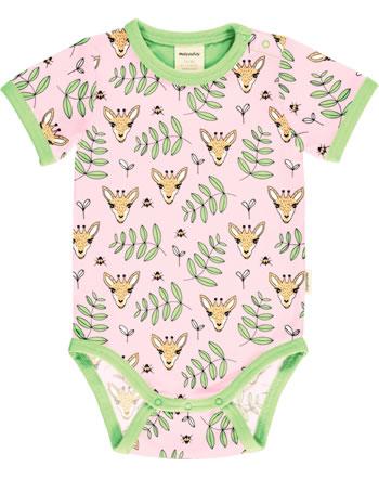 Meyadey Body pour bébé manches courte GIRAFFE GARDEN rose C3513-M470 GOTS