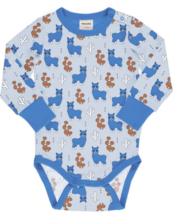 Meyadey Body pour bébé manches longues ALPACA FRIENDS bleu C3456-M469 GOTS