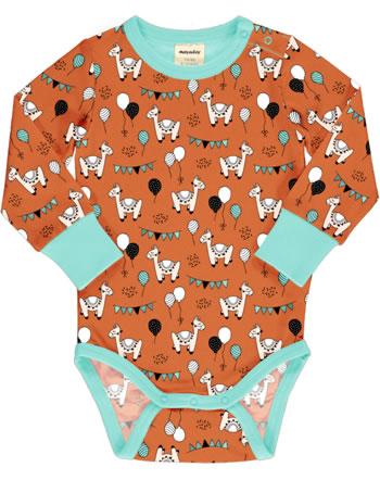 Meyadey Body pour bébé manches longues CAMEL PARTY orange C3457-M469 GOTS