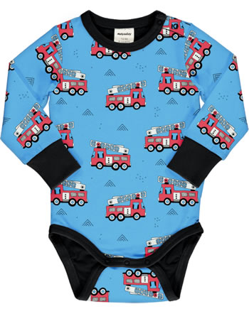 Meyadey Bodysuit long sleeve FIRE TRUCKS blau GOTS D3394-M469