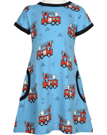 Meyadey Dress shortsleeve FIRE TRUCKS blau GOTS D3394-M355