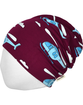Meyadey Hat Beanie HELICOPTER SKY bordeaux C3460-M544 GOTS