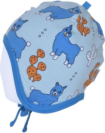 Meyadey Mütze zum Binden ALPACA FRIENDS blau C3456-M391 GOTS