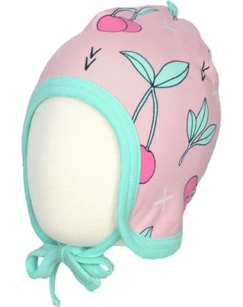 Meyadey Mütze zum Binden CHERRY KISS rosa/grün GOTS D3390-M391