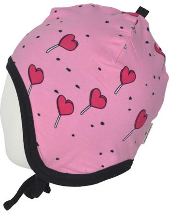Meyadey Mütze zum Binden LOLLIPOP LOVE pink C3462-M391 GOTS