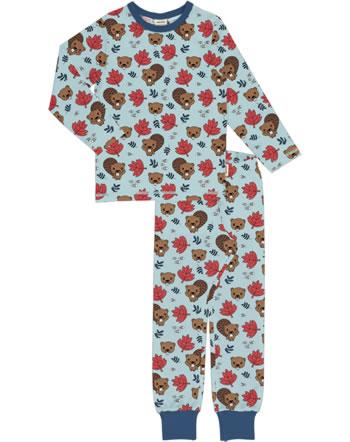 Meyadey Pyjama lang BEAVER FRIENDS blau YA11-11A GOTS