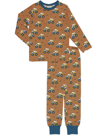 Meyadey Pyjama lang DUMPING WHEELS braun YA14-11A GOTS