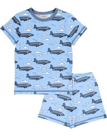 Meyadey Pyjama manche courtes AIROPLANE bleu C3510-M439 GOTS