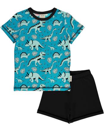 Meyadey Pyjama Schlafanzug Kurzarm DINO FOREST blau GOTS D3391-M439
