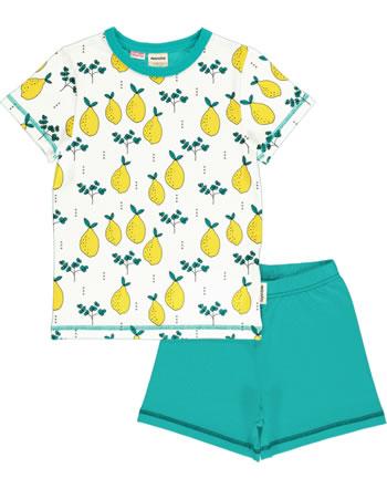 Meyadey Pyjama manche courtes LEAFY LEMON whitelb GOTS D33964-M439
