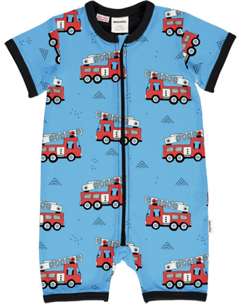 Meyadey Playsuit Rompersuit Short FIRE TRUCKS blue GOTS D3394-M444